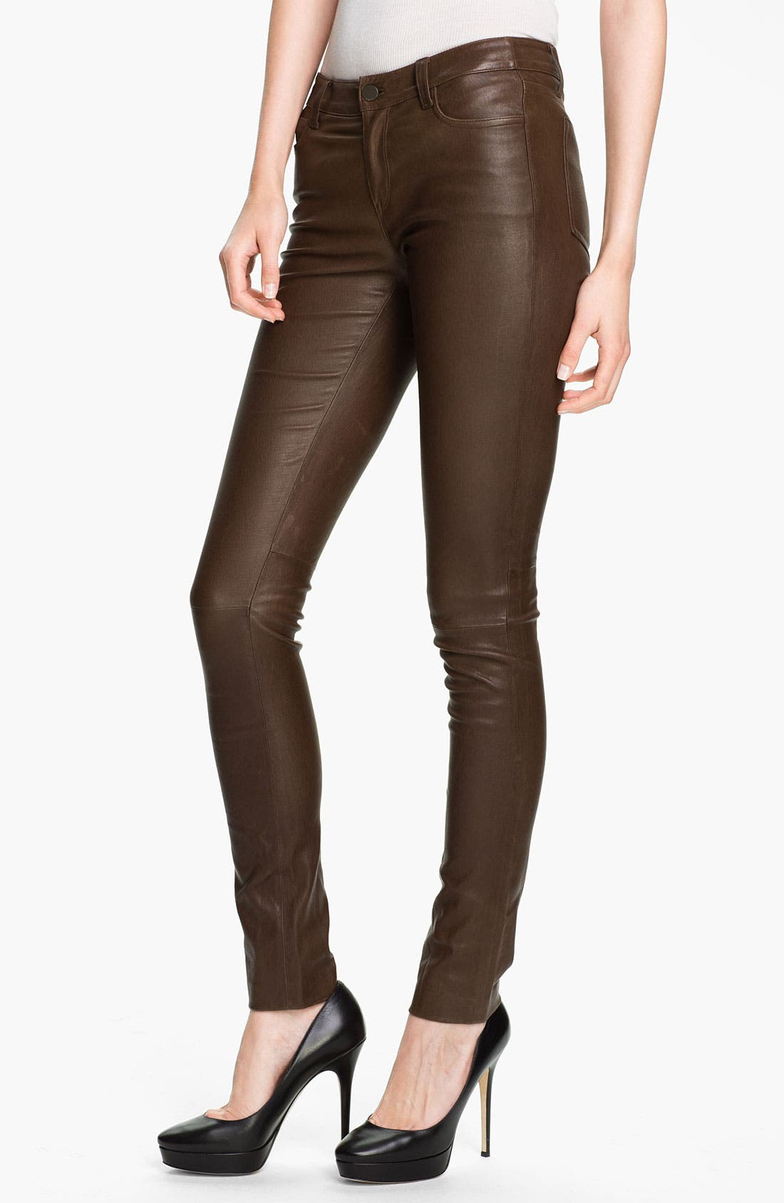 Alternate Image 1 Selected - Vince Skinny Stretch Leather Pants
