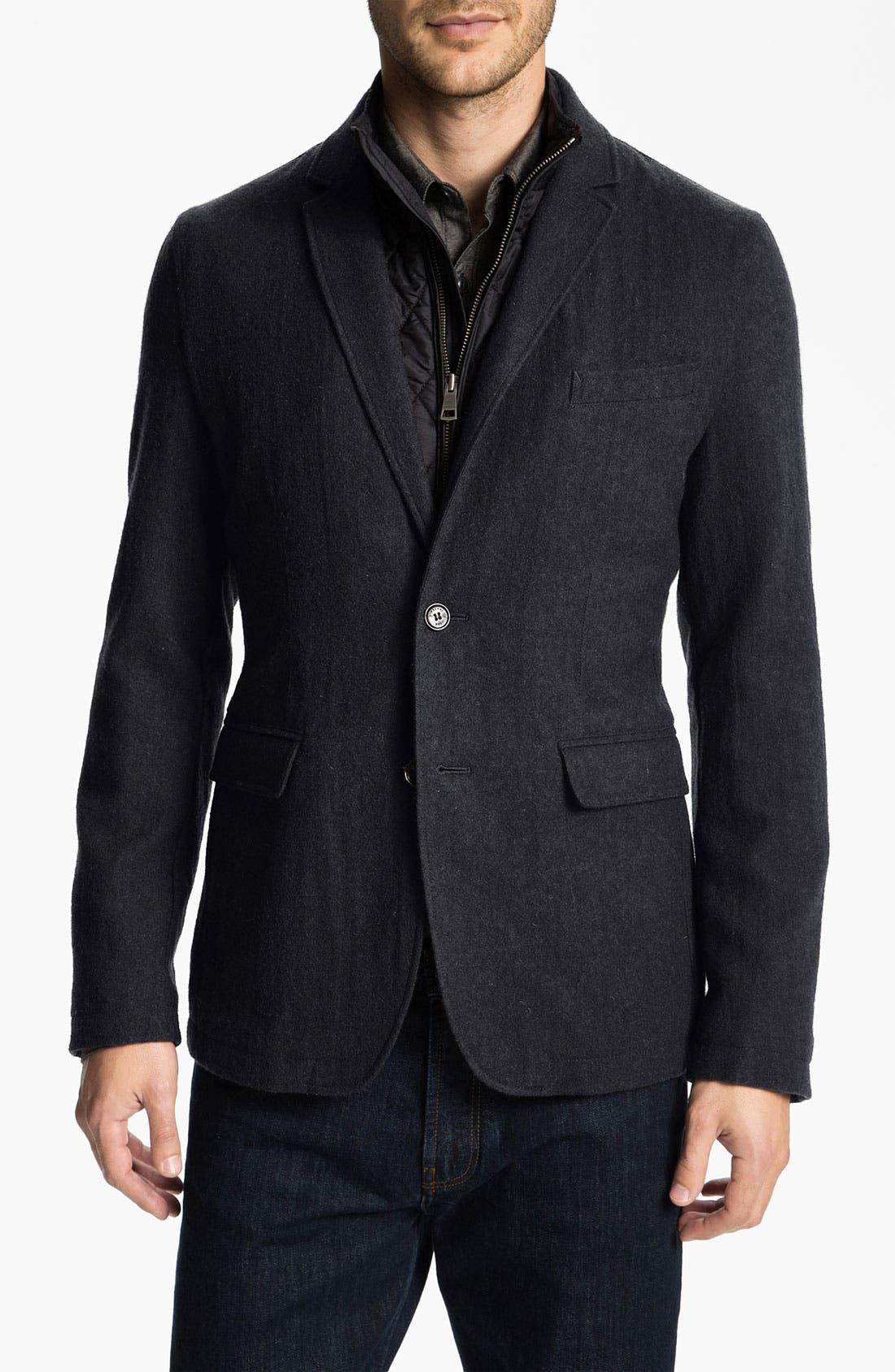 Alternate Image 1 Selected - Burberry Brit Wool Blend Trim Fit Jacket