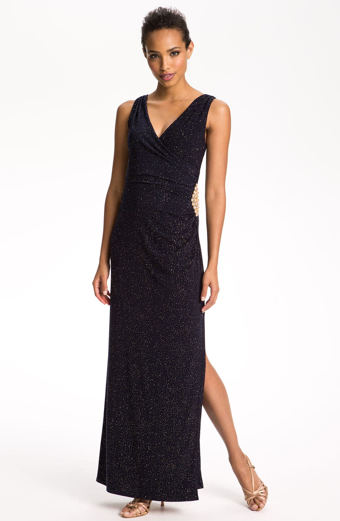 Main Image - Betsy & Adam Double V-Neck Glitter Gown