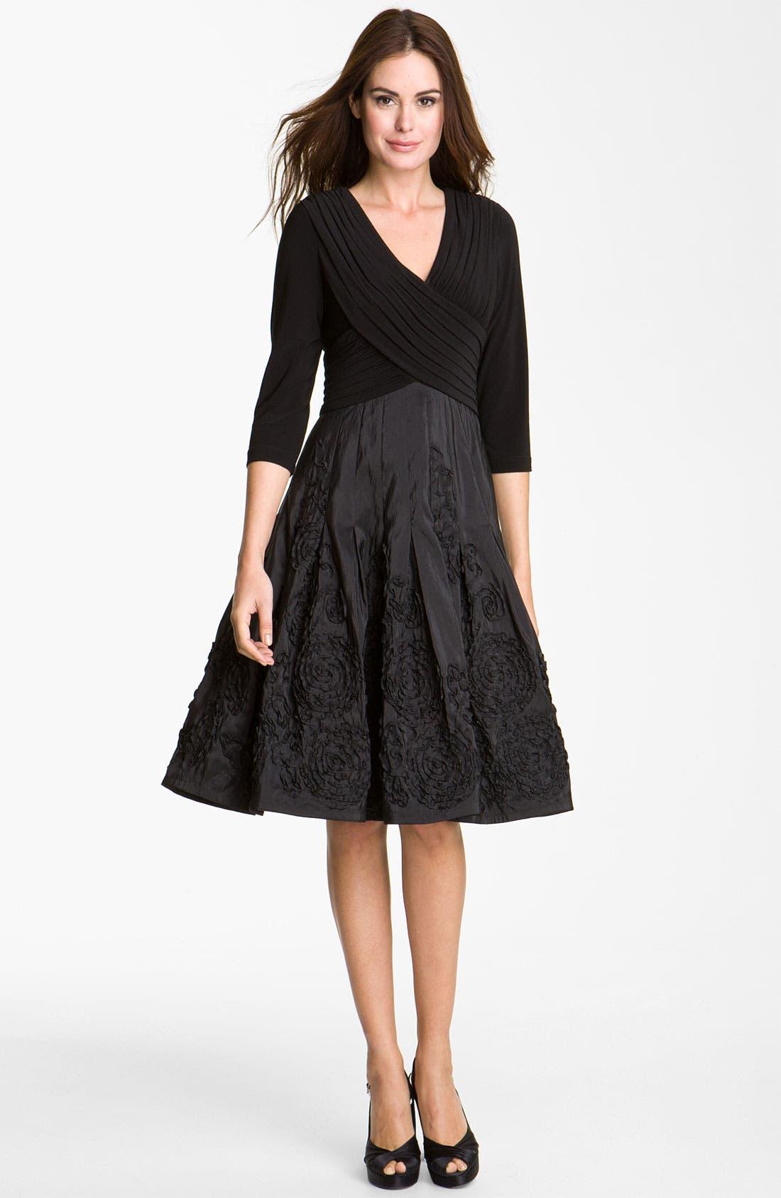 Alternate Image 1 Selected - Adrianna Papell Rosette Mixed Media Dress (Petite)