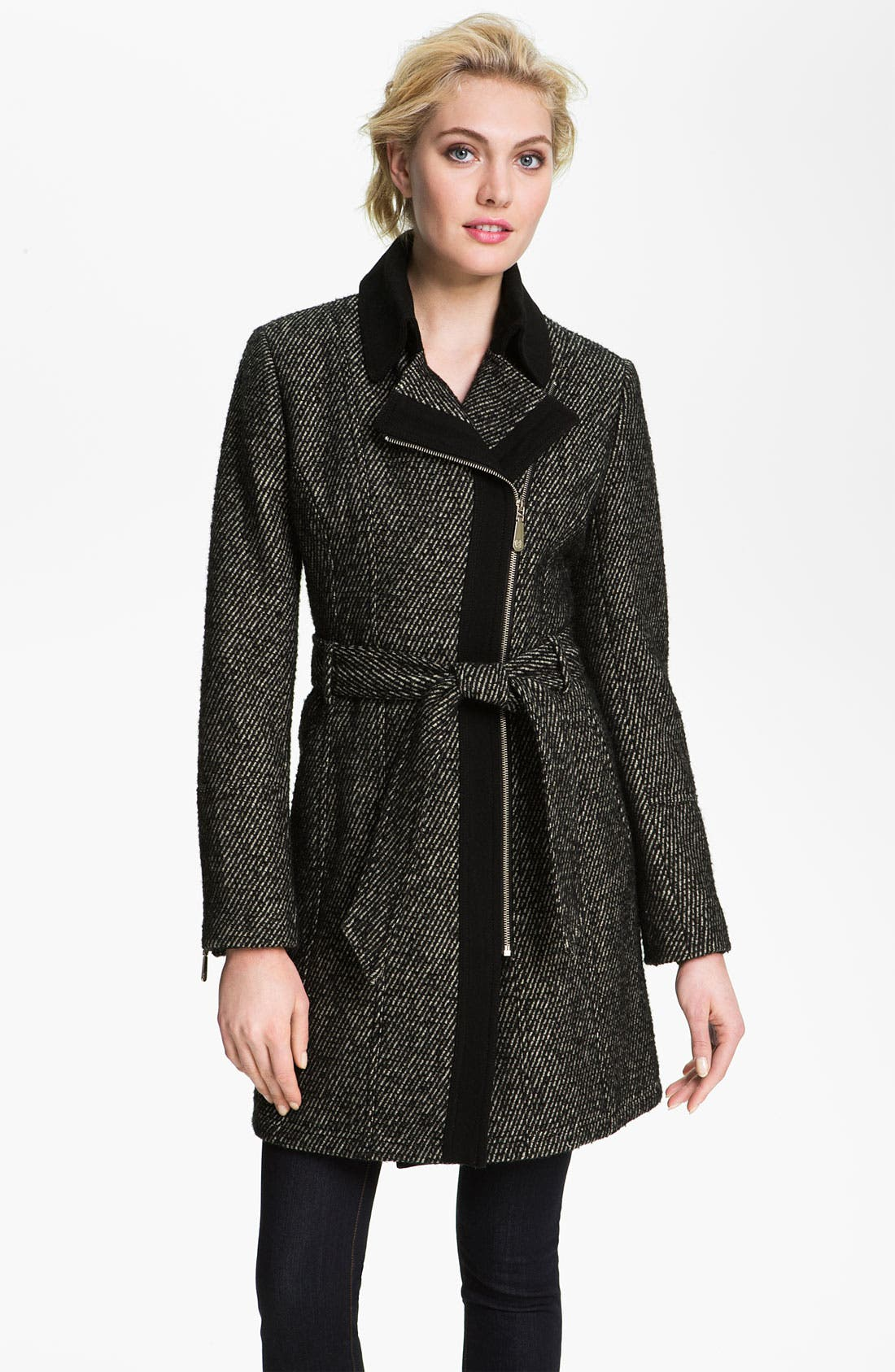 Main Image - Vince Camuto Asymmetrical Zip Tweed Trench Coat