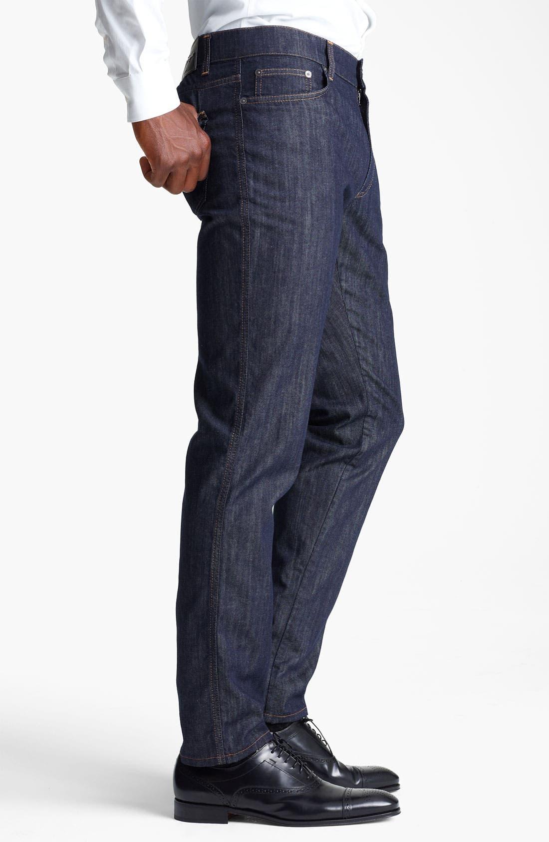 Alternate Image 3  - Salvatore Ferragamo 'Typology' Straight Leg Jeans (Navy)