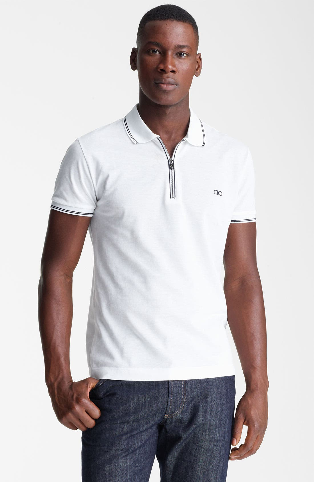 Main Image - Salvatore Ferragamo Zip Piqué Trim Fit Polo