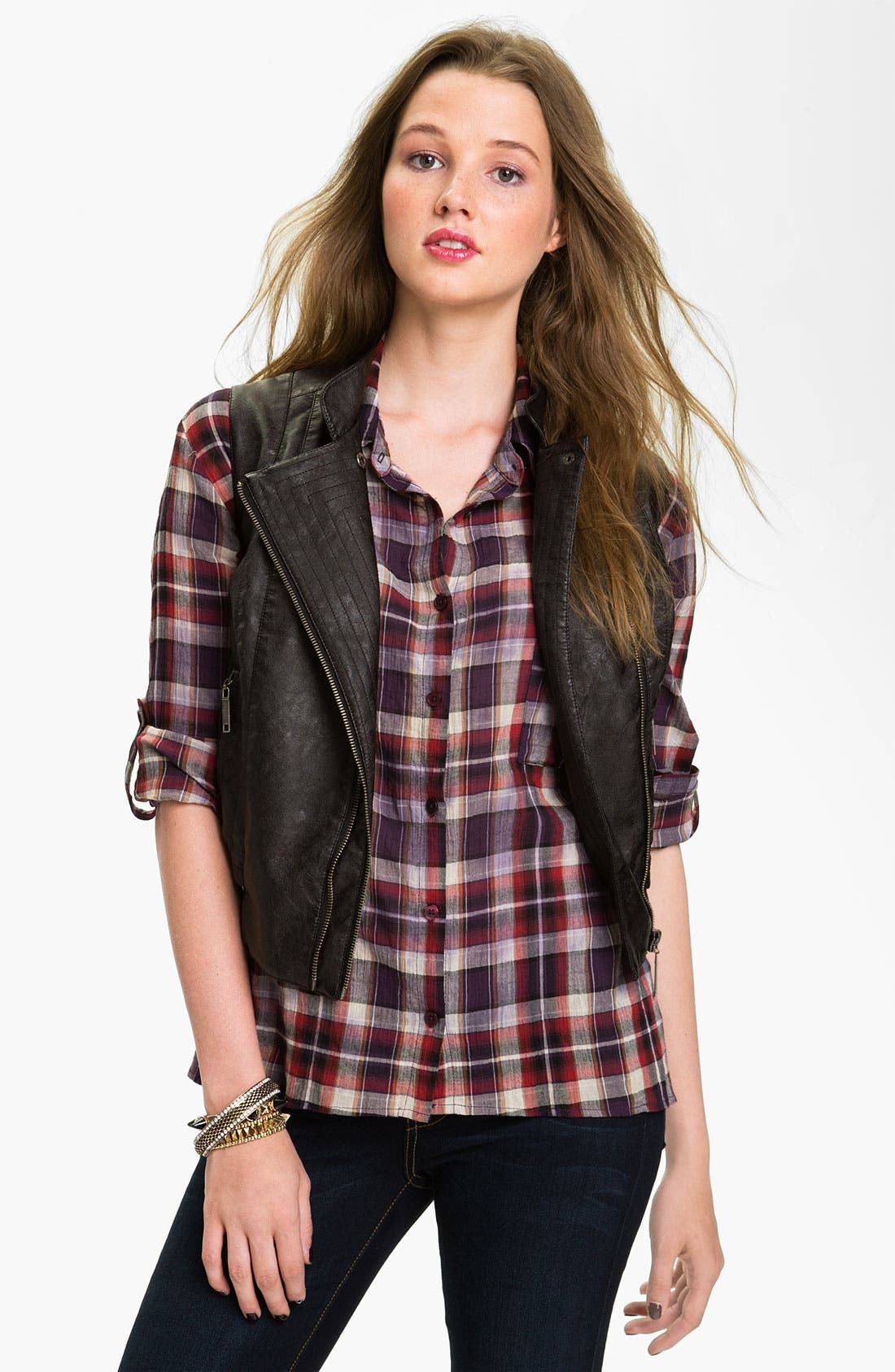 Main Image - Jou Jou Faux Leather Biker Vest (Juniors)