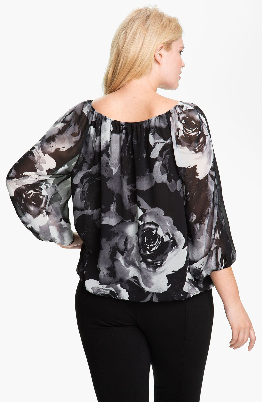 Alternate Image 2  - Vince Camuto Print Split Sleeve Blouse (Plus)