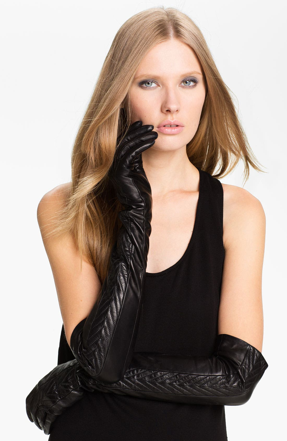 Main Image - Nordstrom Opera Length Leather Gloves