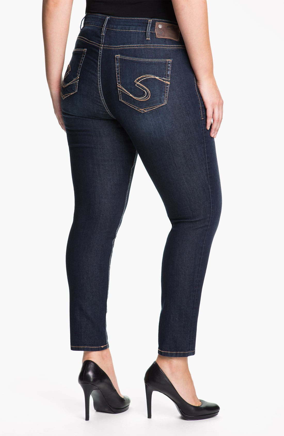 Alternate Image 2  - Silver Jeans Co. 'Suki' Stretch Denim Leggings (Plus)