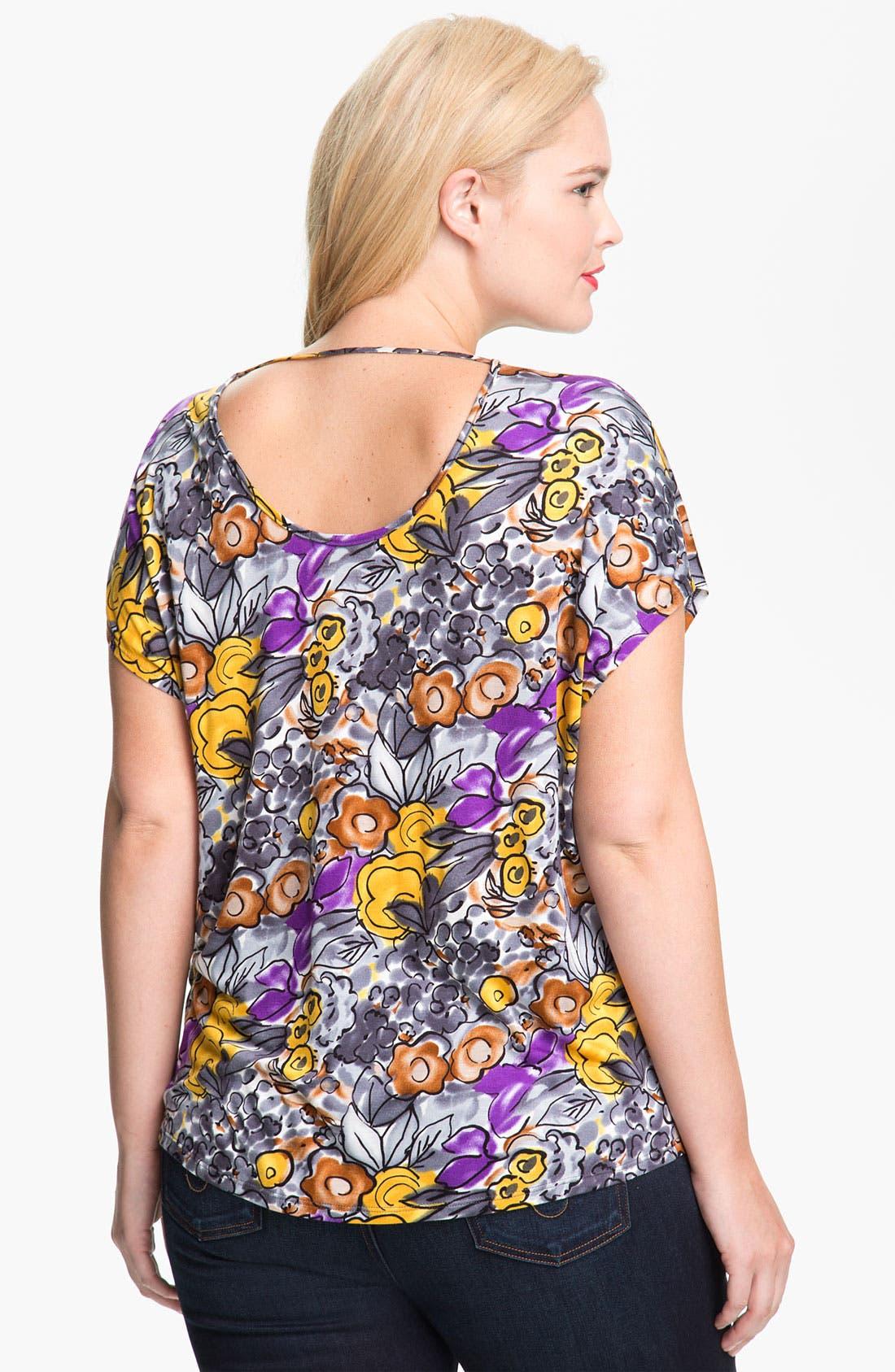 Alternate Image 2  - Olivia Moon Floral Print Tee (Plus)