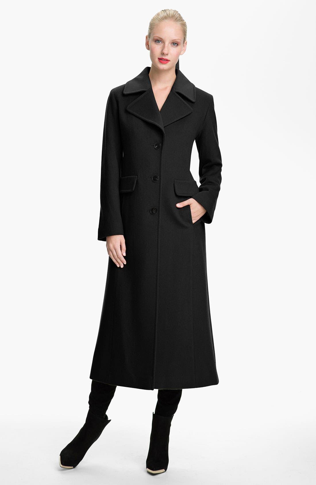 Alternate Image 1 Selected - Fleurette Notch Collar Long Coat