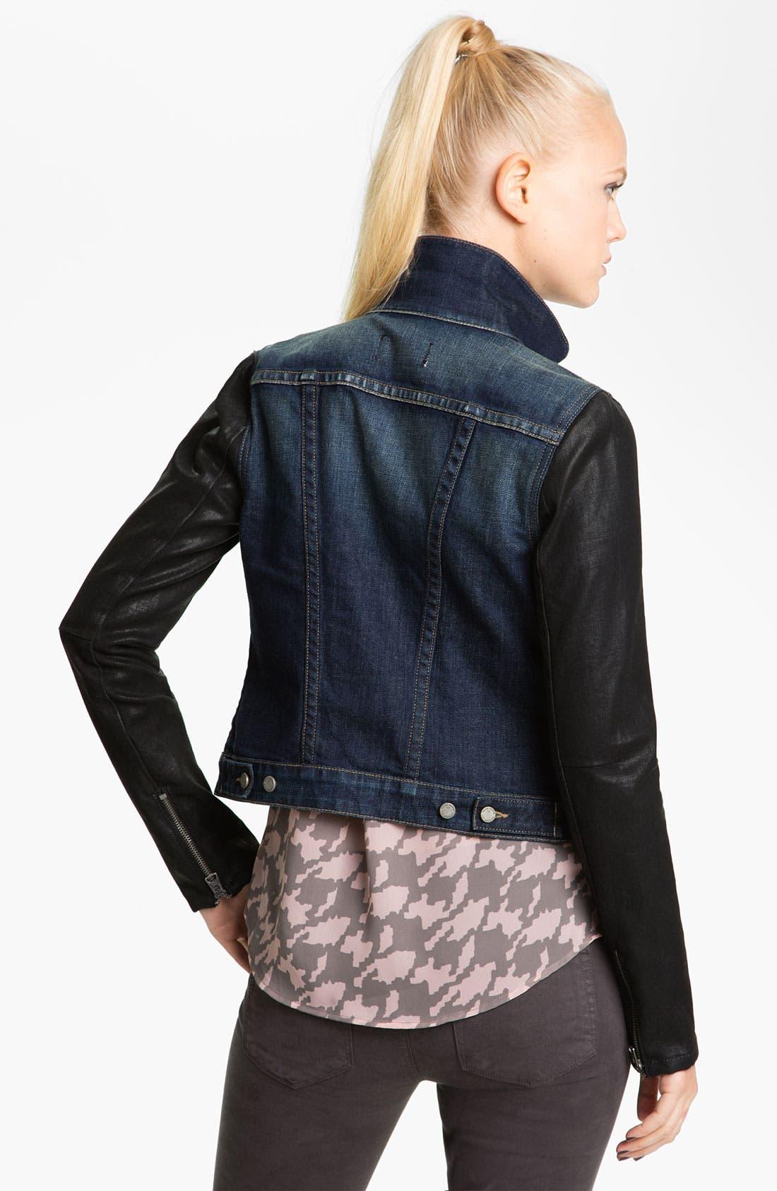 Alternate Image 2  - Paige Denim Coated Sleeve Denim Jacket (Owen)