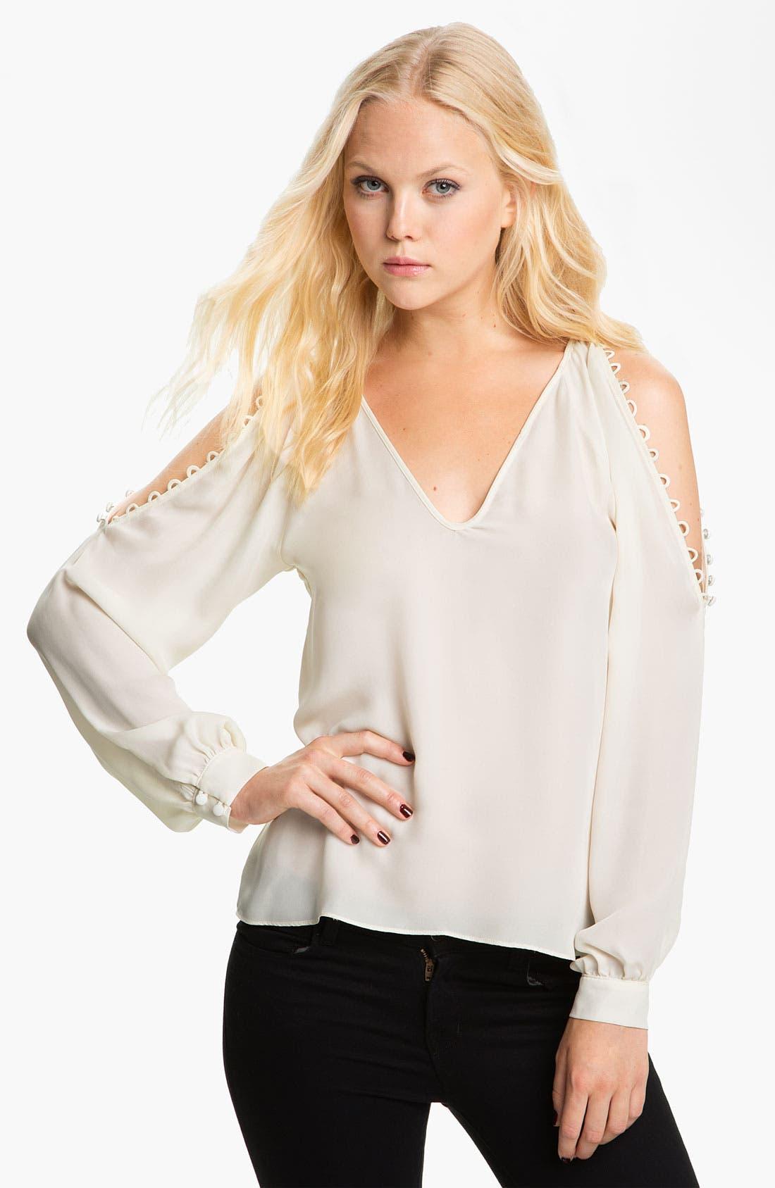 Alternate Image 1 Selected - Parker Open Shoulder Silk Blouse