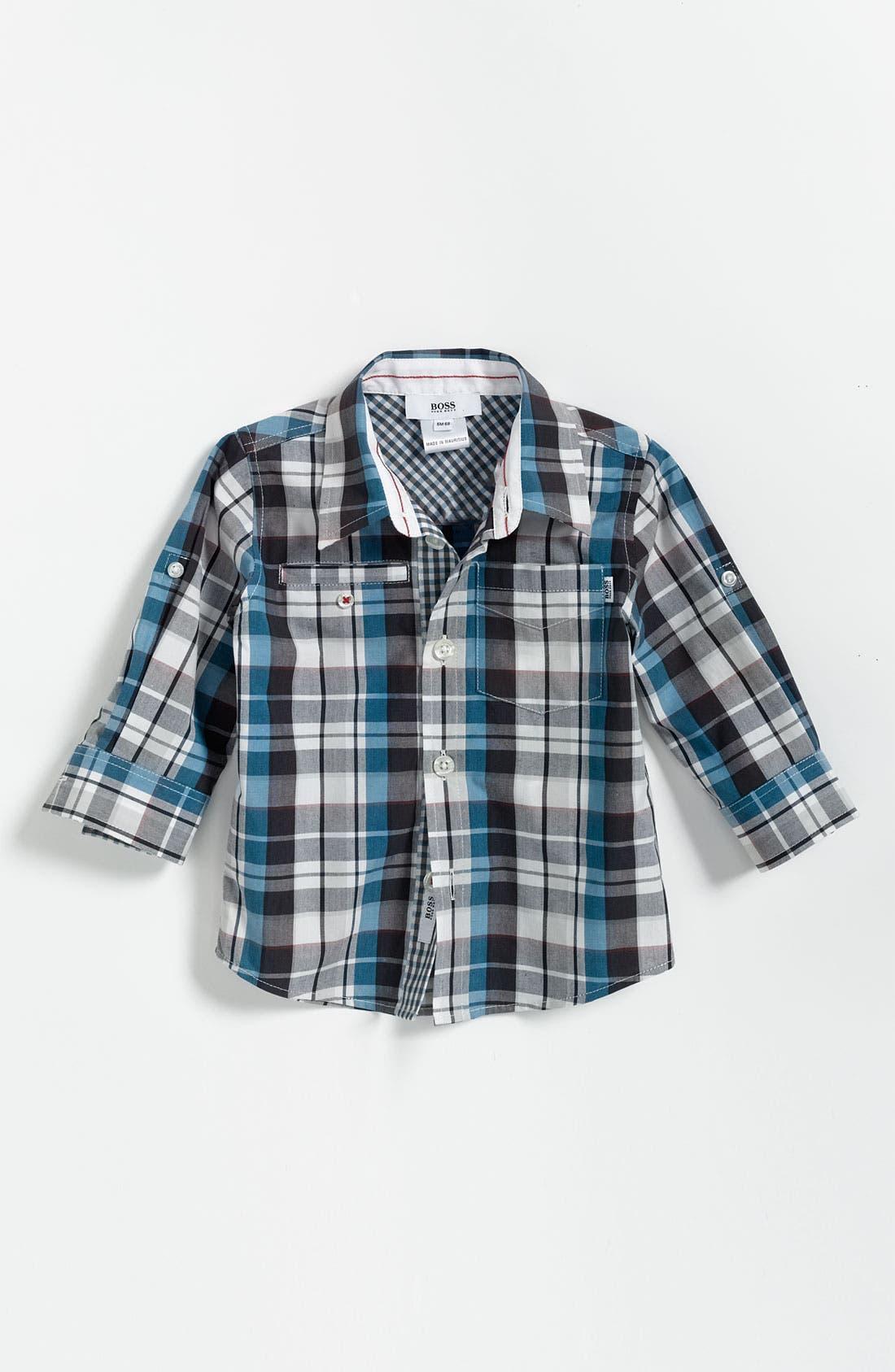 Main Image - BOSS Kidswear Check Print Shirt (Infant)