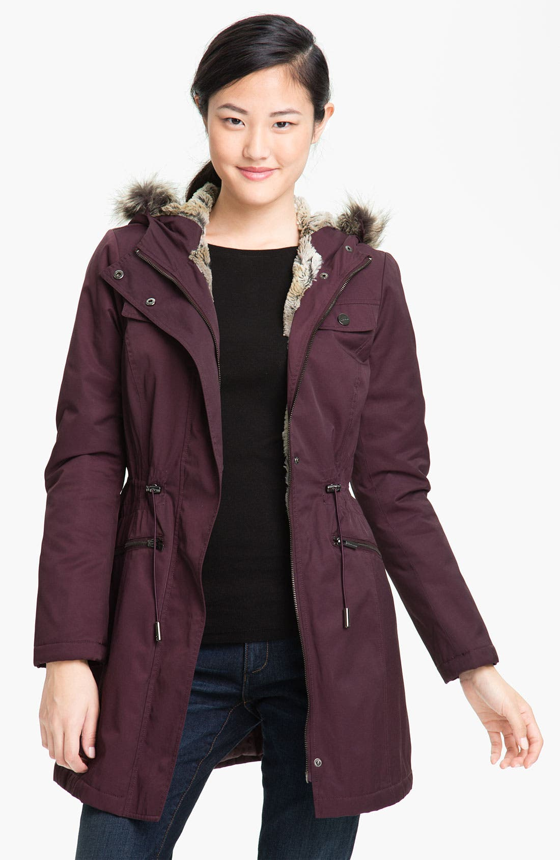 Main Image - Kenneth Cole New York Faux Fur Trim Anorak