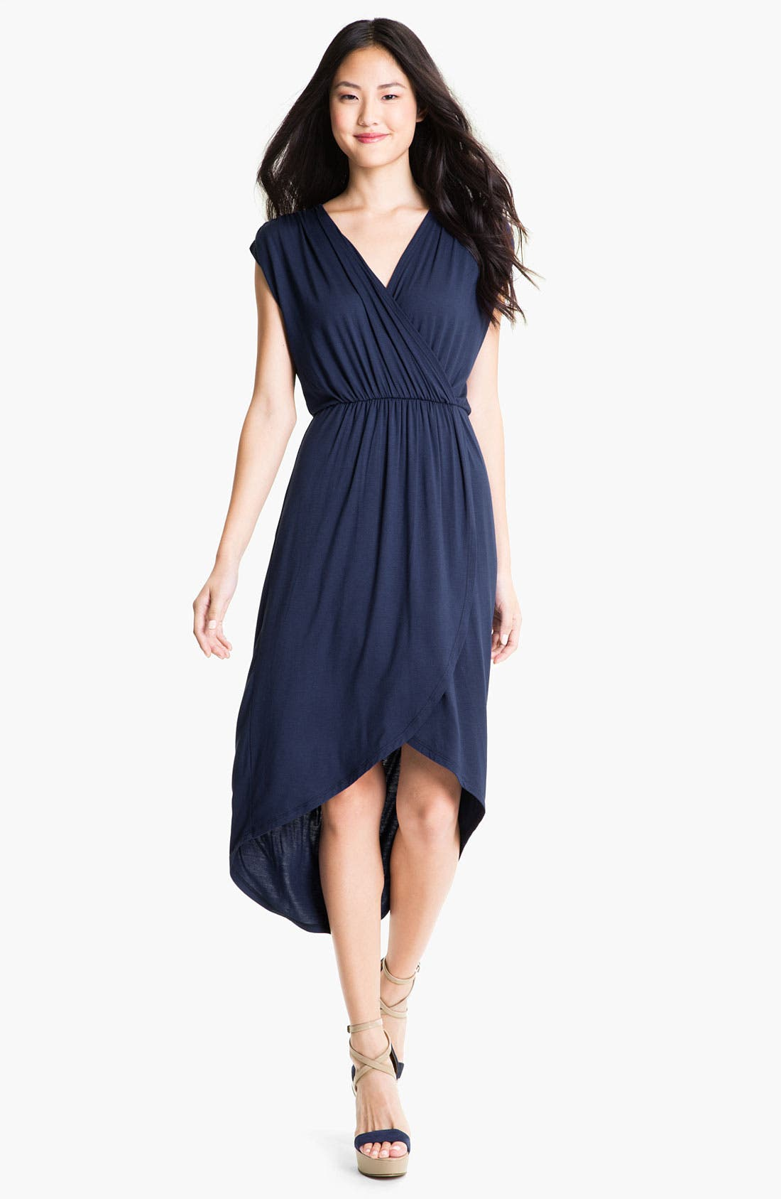 Alternate Image 1 Selected - Loveappella Faux Wrap High Low Dress (Petite)
