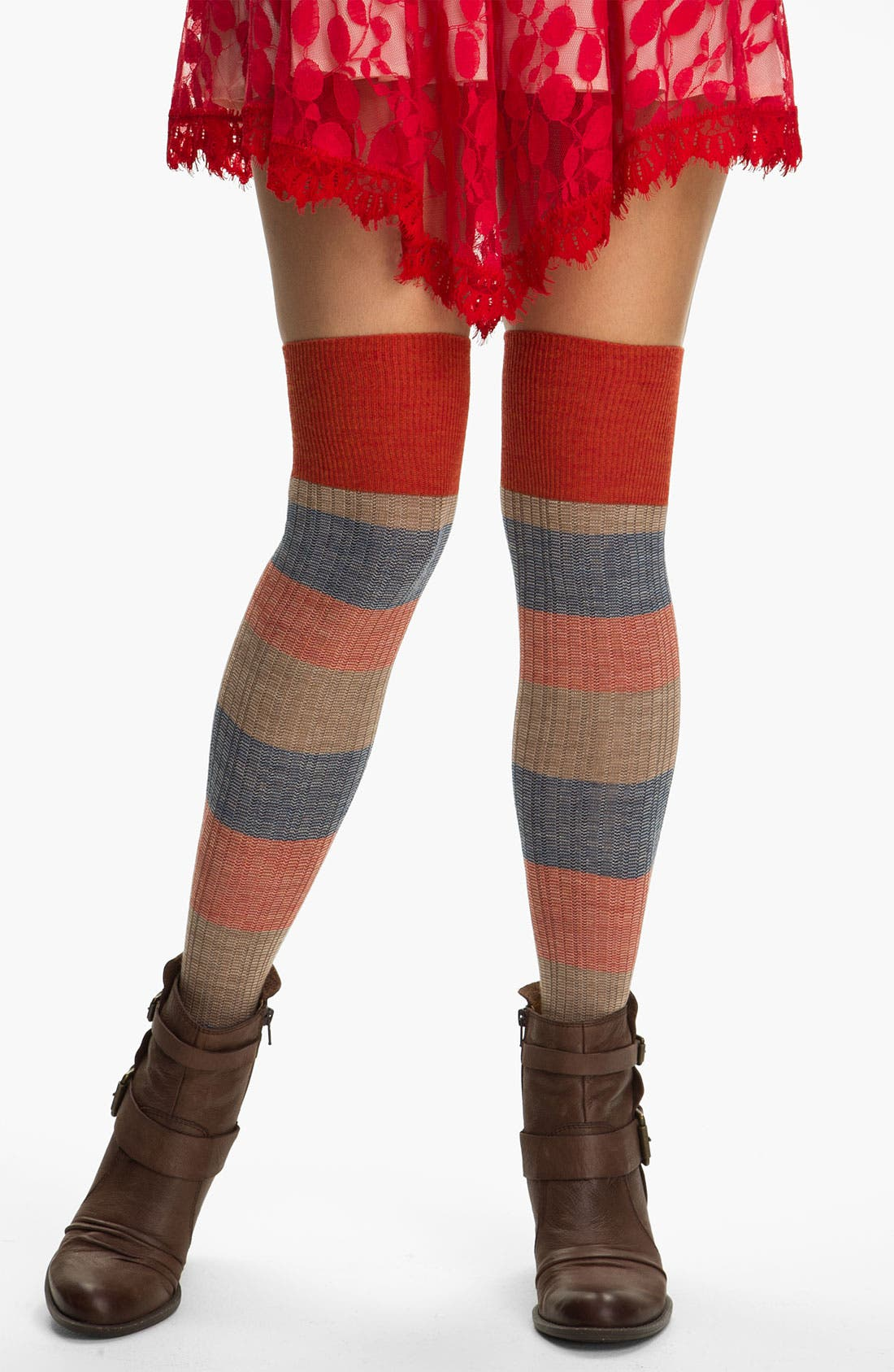 Main Image - Free People Stripe Over the Knee Socks