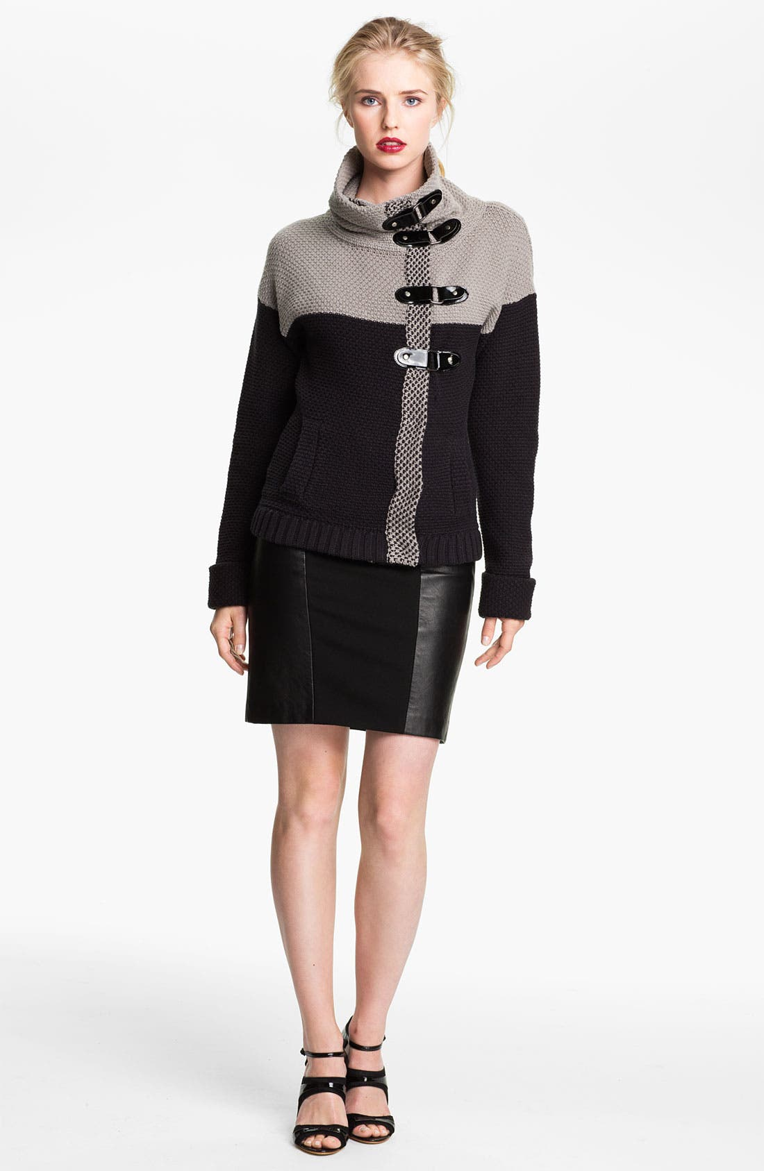 Main Image - Tracy Reese Colorblock Chunky Knit Jacket