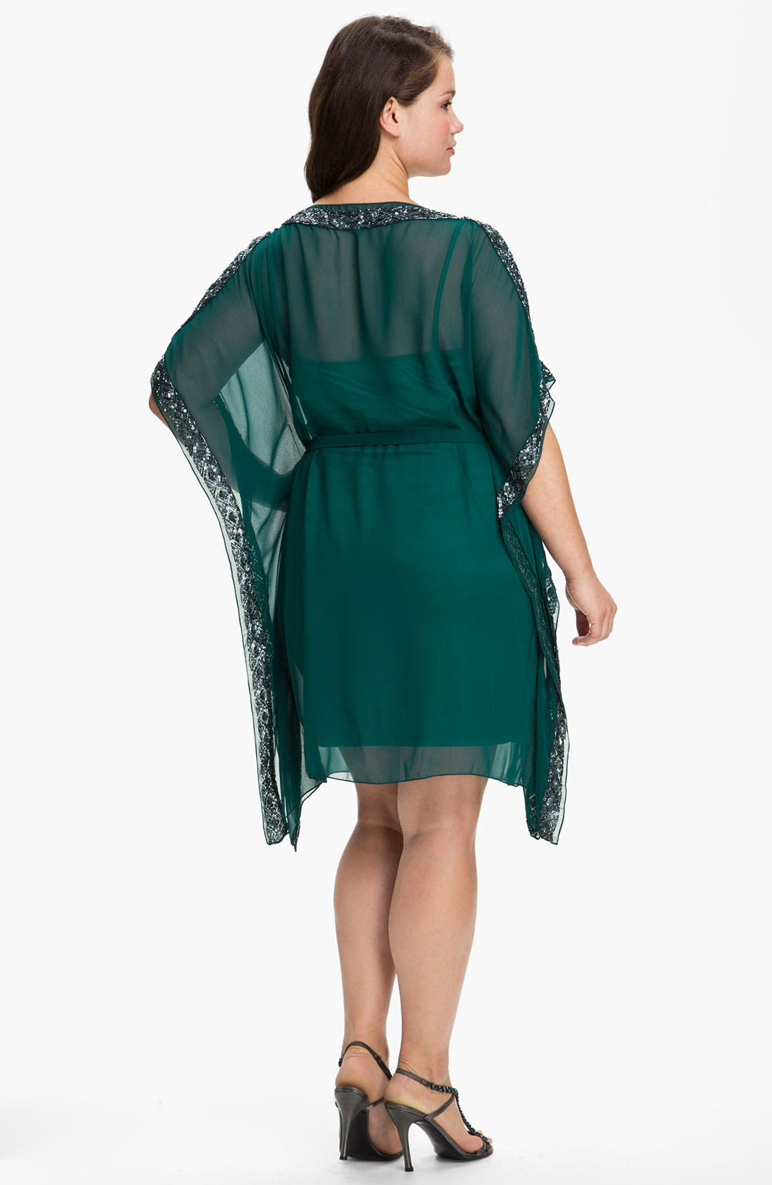 Alternate Image 2  - Aidan Mattox Beaded Kimono Sleeve Chiffon Dress (Plus)
