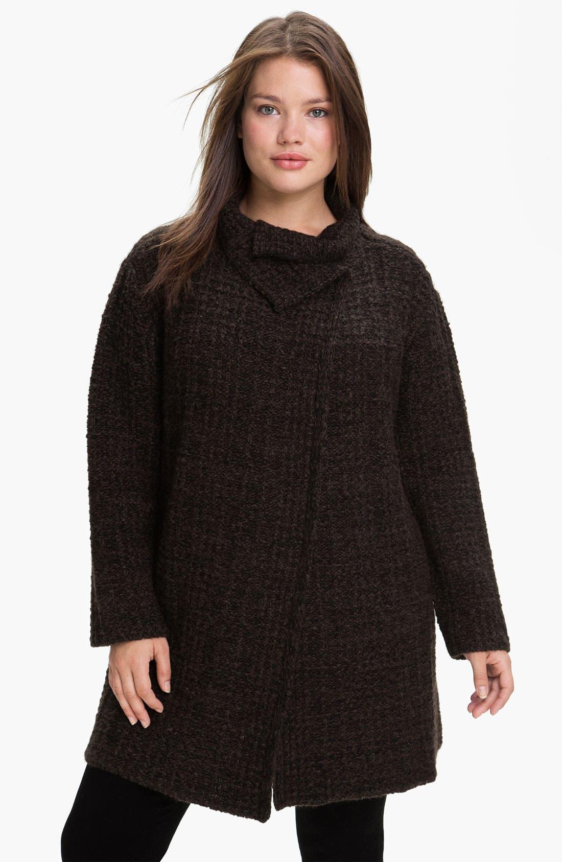 Alternate Image 1 Selected - Eileen Fisher 'Eco Pebble Plaid' Jacket (Plus)