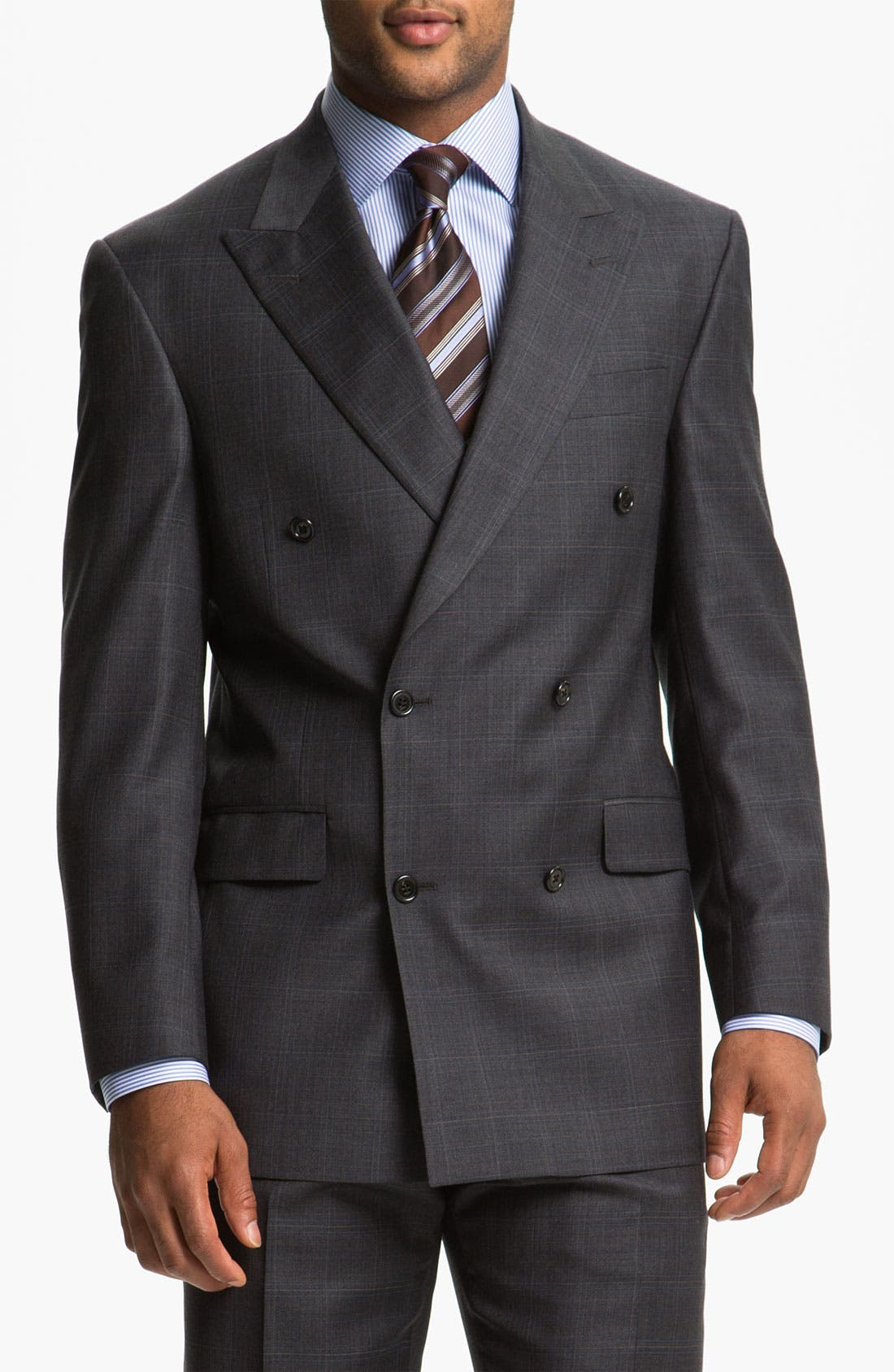 Main Image - Hart Schaffner Marx Double Breasted Plaid Wool Suit
