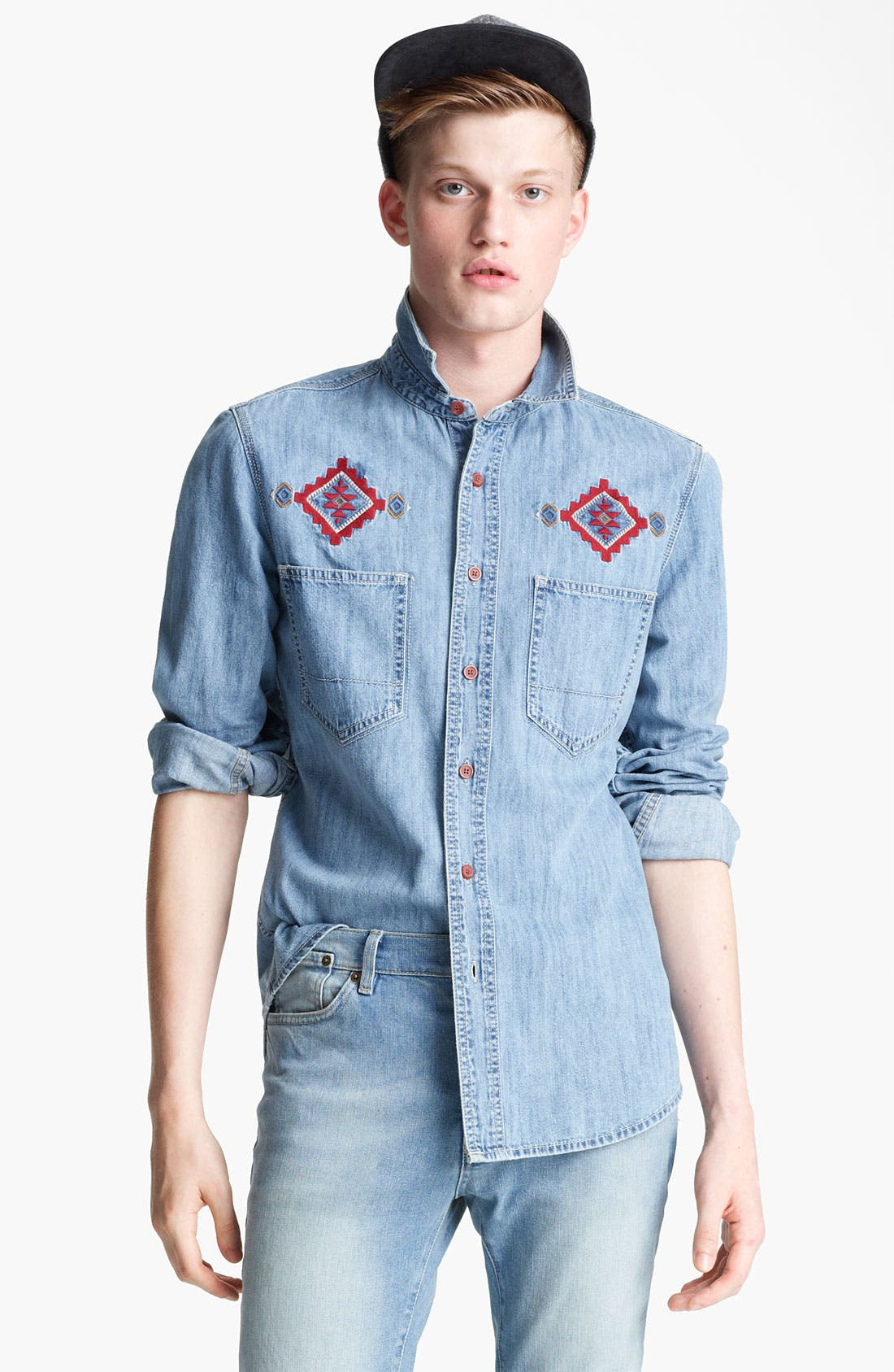 Main Image - Topman Embroidered Denim Shirt
