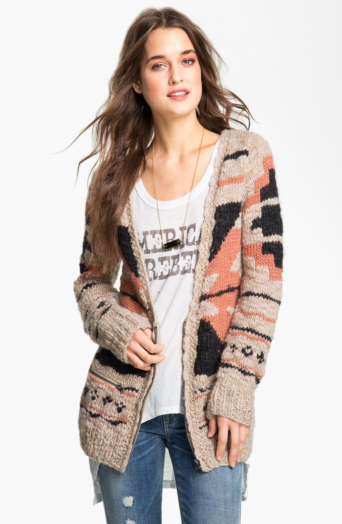 Alternate Image 1 Selected - Maison Scotch Chunky Southwestern Cardigan