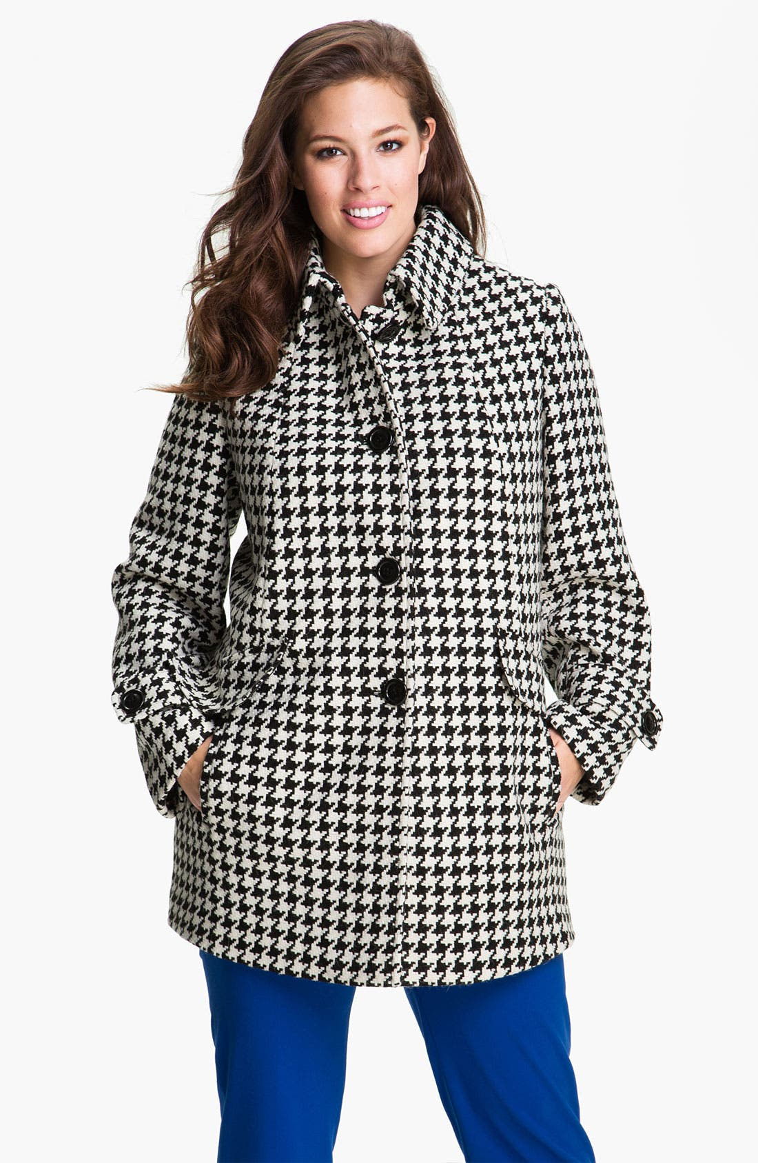 Main Image - Gallery Single Breasted Houndstooth Coat (Plus) (Online Exclusive)