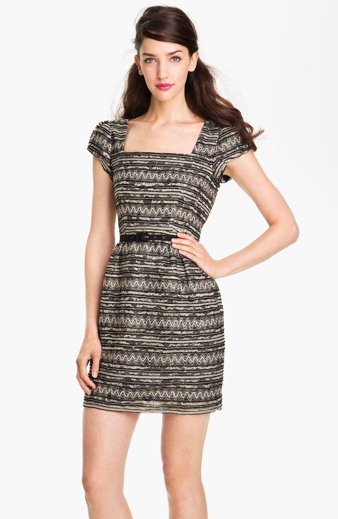 Alternate Image 1 Selected - Nanette Lepore 'Starfest' Belted Lace Sheath Dress