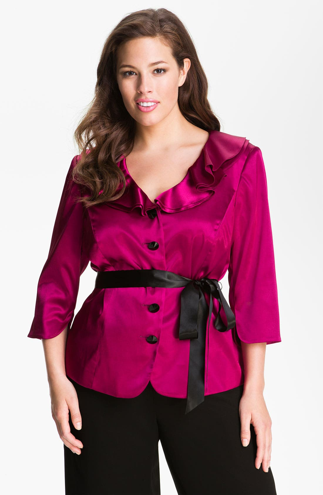 Alternate Image 1 Selected - Adrianna Papell Ruffle Charmeuse Jacket (Plus)