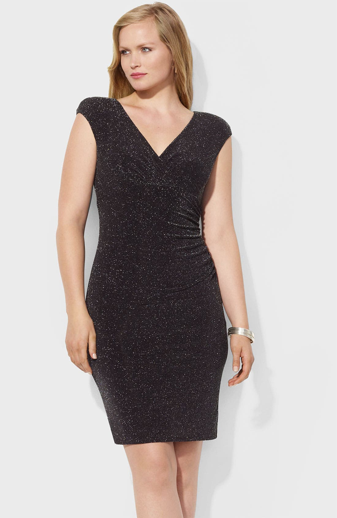 Alternate Image 1 Selected - Lauren Ralph Lauren 'Adara' Metallic Sheath Dress (Plus)