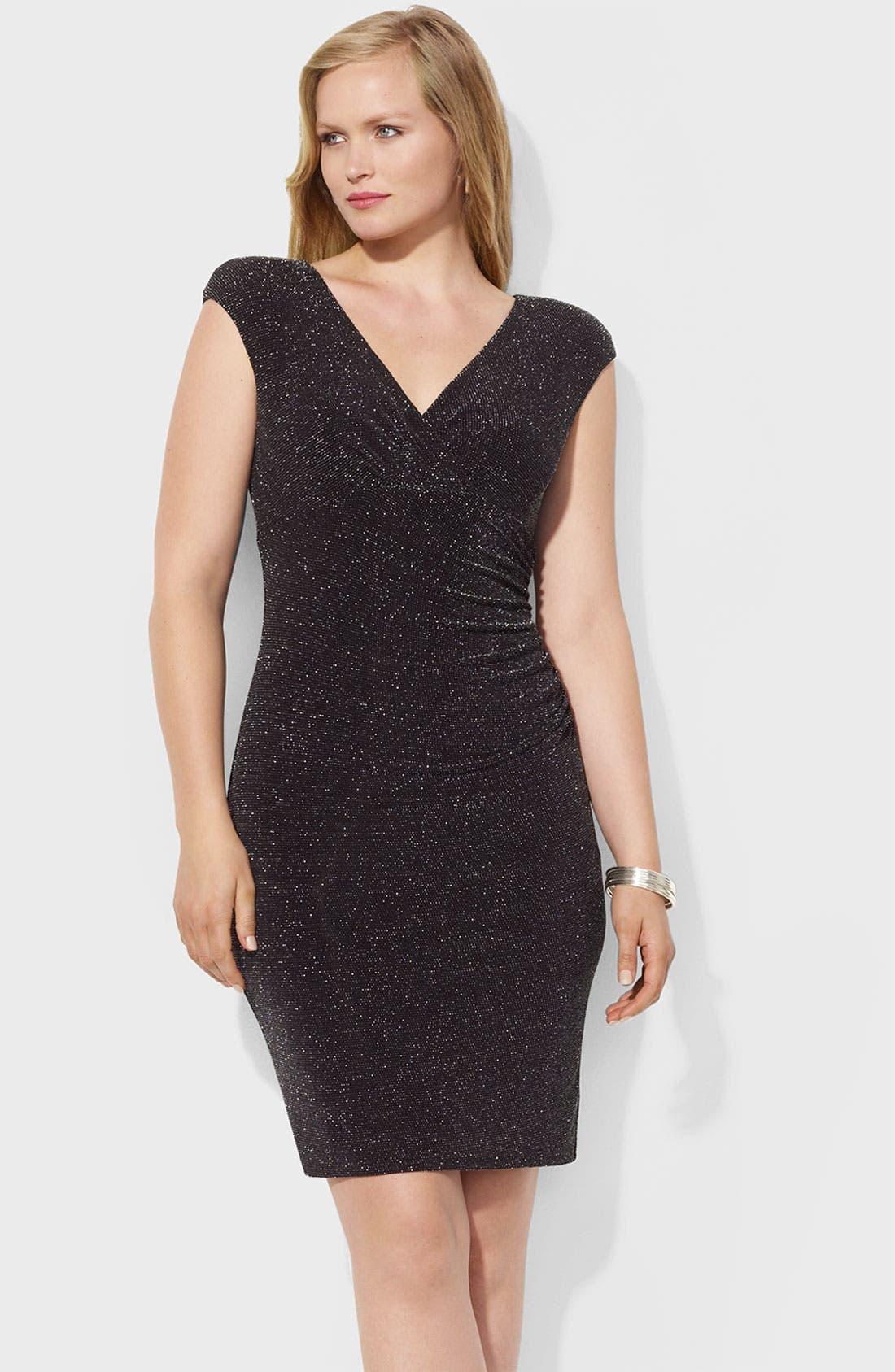Main Image - Lauren Ralph Lauren 'Adara' Metallic Sheath Dress (Plus)