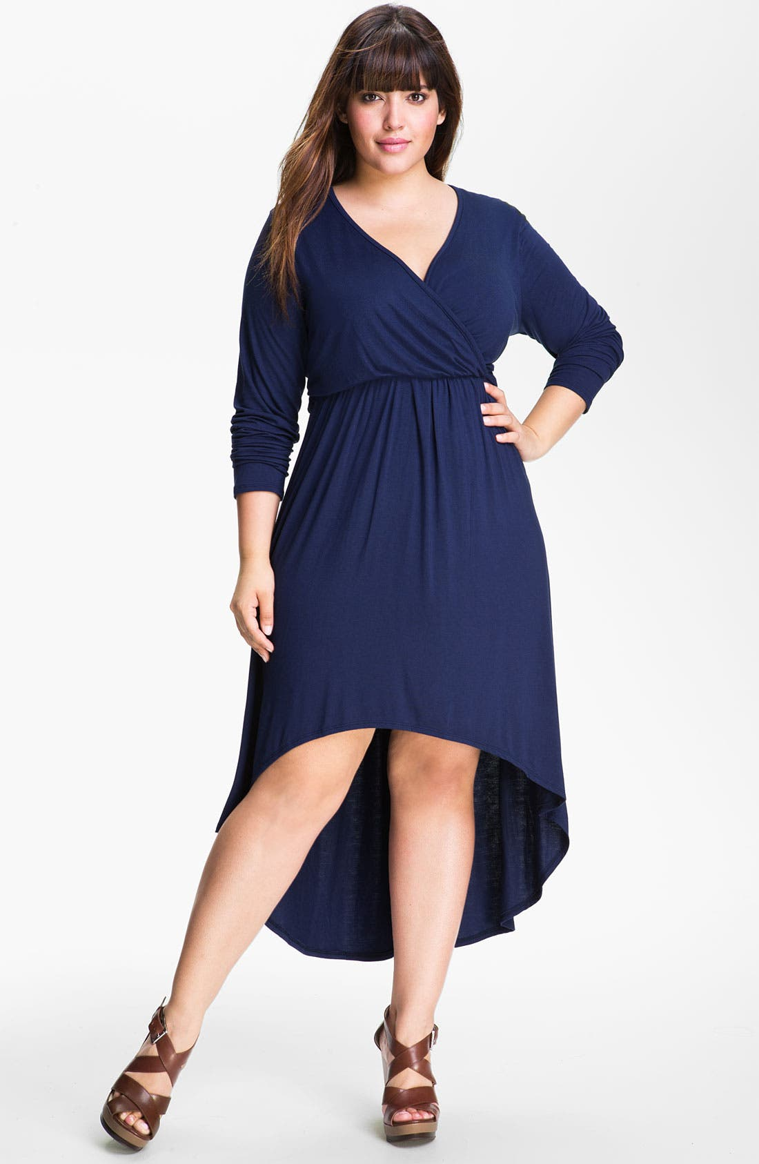 Main Image - Loveappella High Low Faux Wrap Dress (Plus)