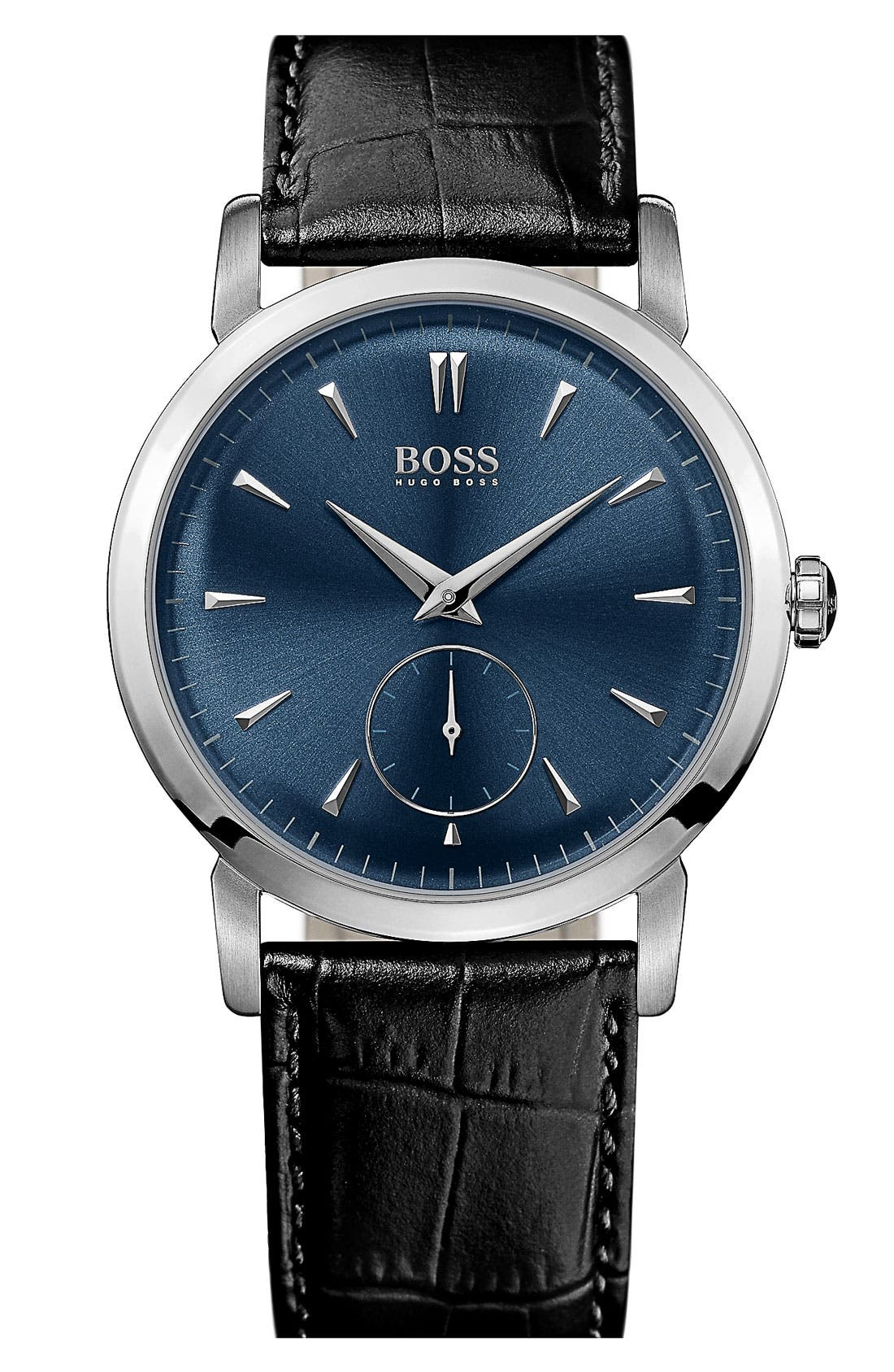 Main Image - BOSS HUGO BOSS Round Leather Strap Watch, 40mm