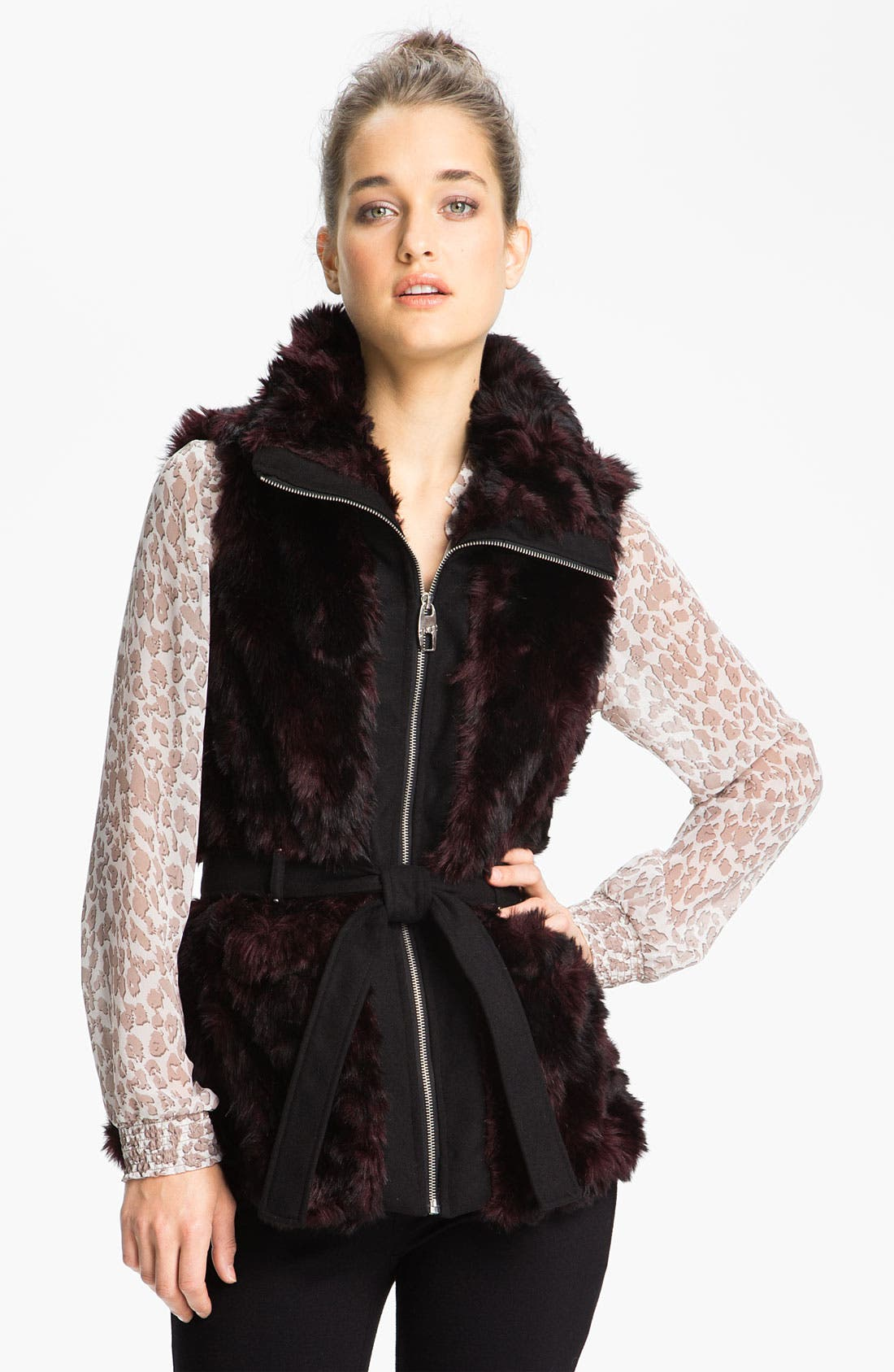 Alternate Image 1  - Miss Sixty Belted Faux Fur Vest