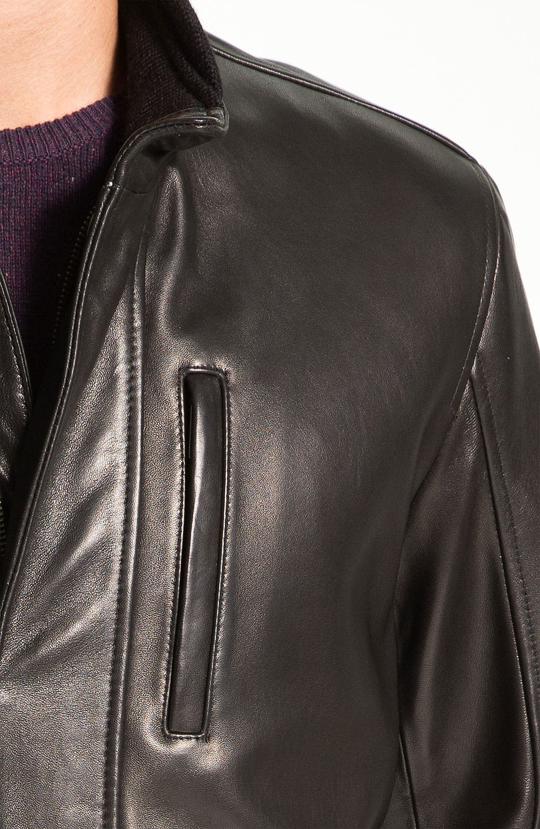 Alternate Image 3  - Cole Haan Lambskin Leather Car Coat