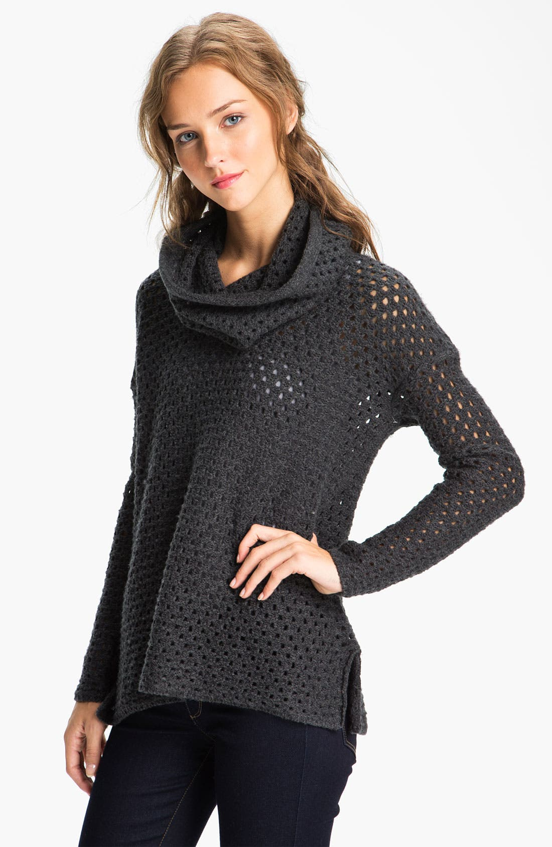 Alternate Image 1 Selected - James Perse Mesh Knit Funnel Neck Sweater