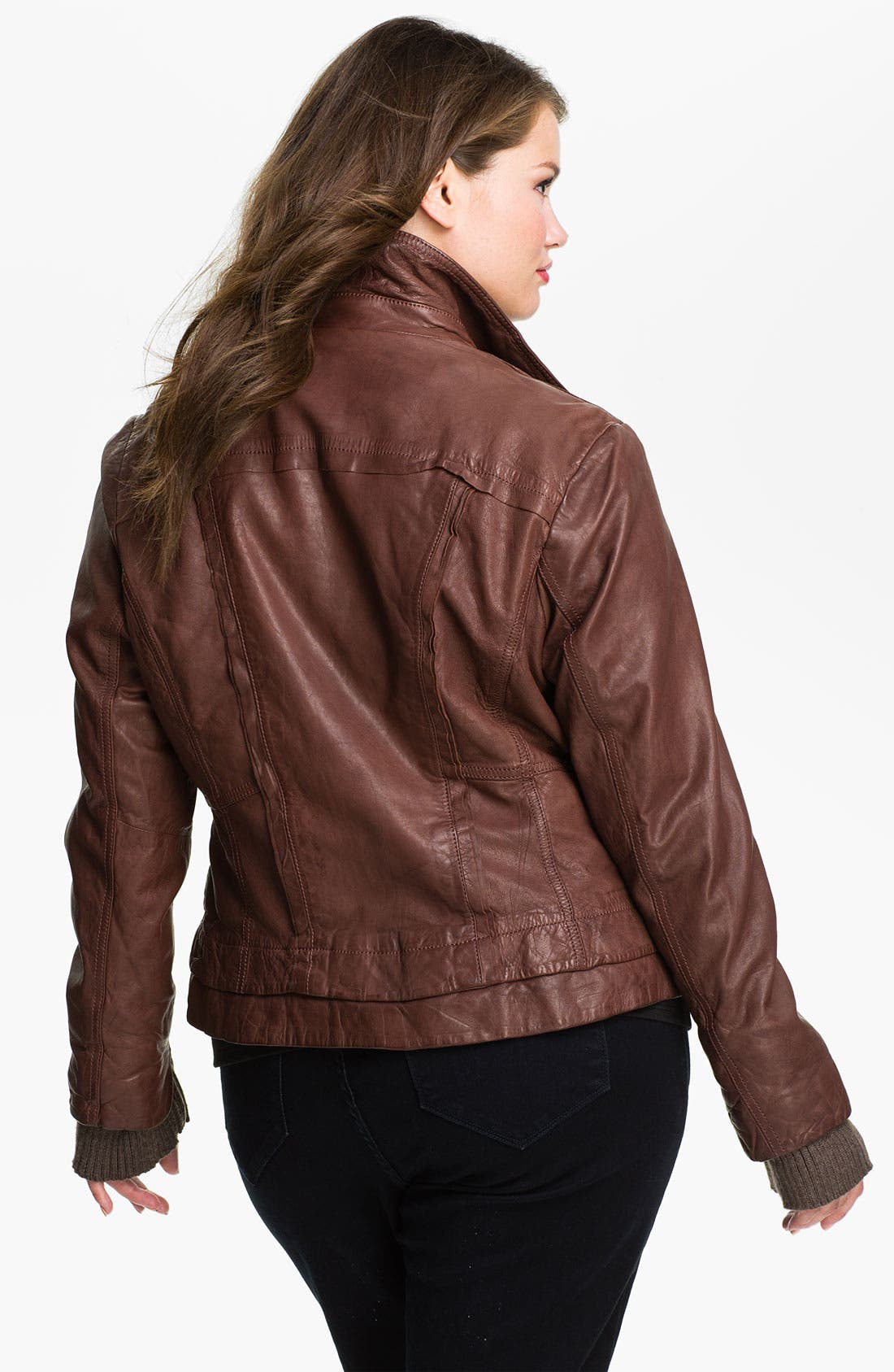 Alternate Image 2  - Bernardo Knit Cuff Leather Jacket (Plus)