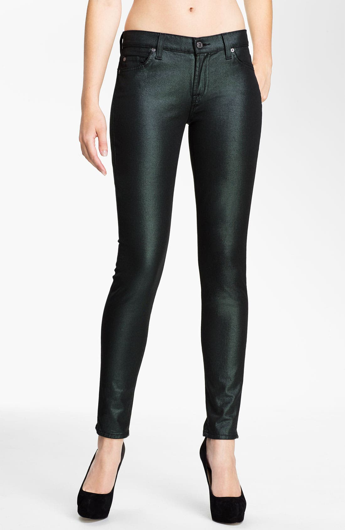 Alternate Image 1 Selected - 7 For All Mankind® 'The Skinny' Coated Jeans (Metallic Emerald)