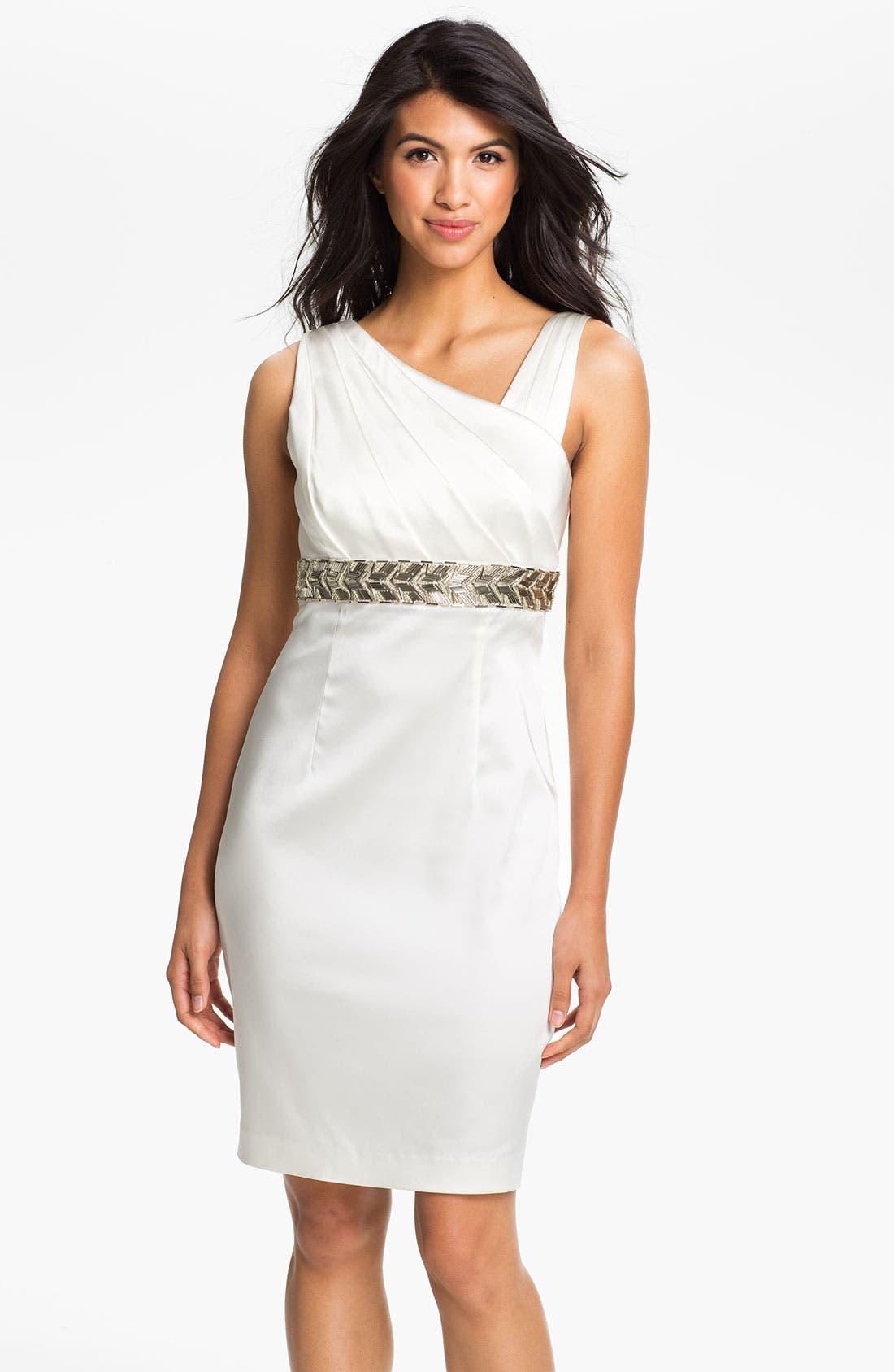 Main Image - Calvin Klein Beaded Waist Satin Sheath Dress