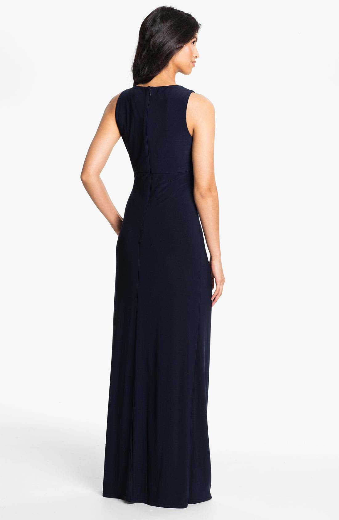 Alternate Image 2  - Eliza J Embellished Neck Jersey Column Gown