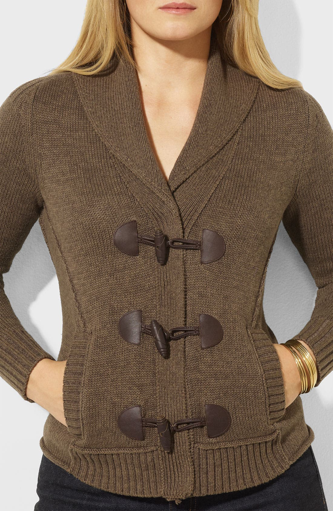 Alternate Image 3  - Lauren Ralph Lauren Shawl Collar Cardigan (Plus)