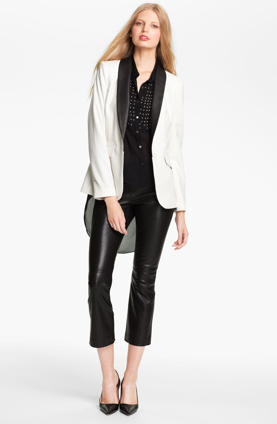 Main Image - Elizabeth and James 'Rex' Leather Collar Tuxedo Blazer