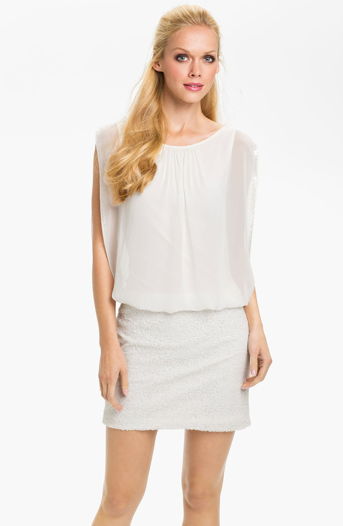 Main Image - Aidan by Aidan Mattox Draped Sequin & Chiffon Blouson Dress (Online Only)