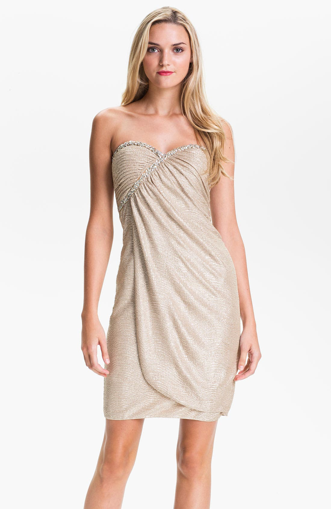 Main Image - Hailey by Adrianna Papell Strapless Metallic Sarong Dress