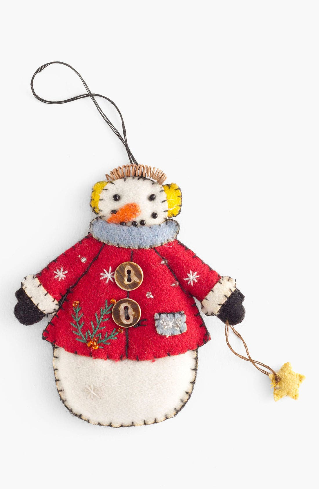 Alternate Image 1 Selected - New World Arts 'Puffy Snowman with Earmuffs' Ornament