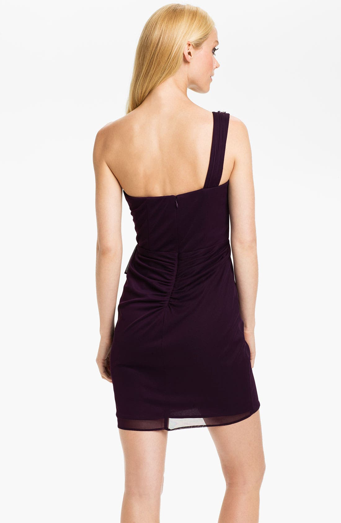 Alternate Image 2  - Xscape Pleated One Shoulder Mesh Dress (Petite)