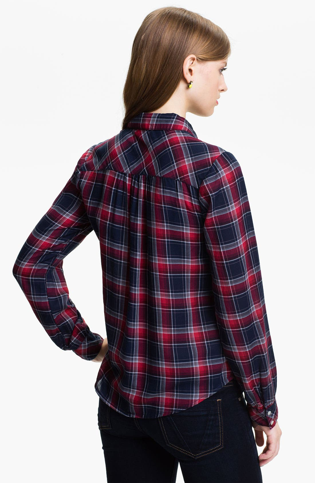 Alternate Image 2  - BP. Tie Neck Plaid Shirt (Juniors)