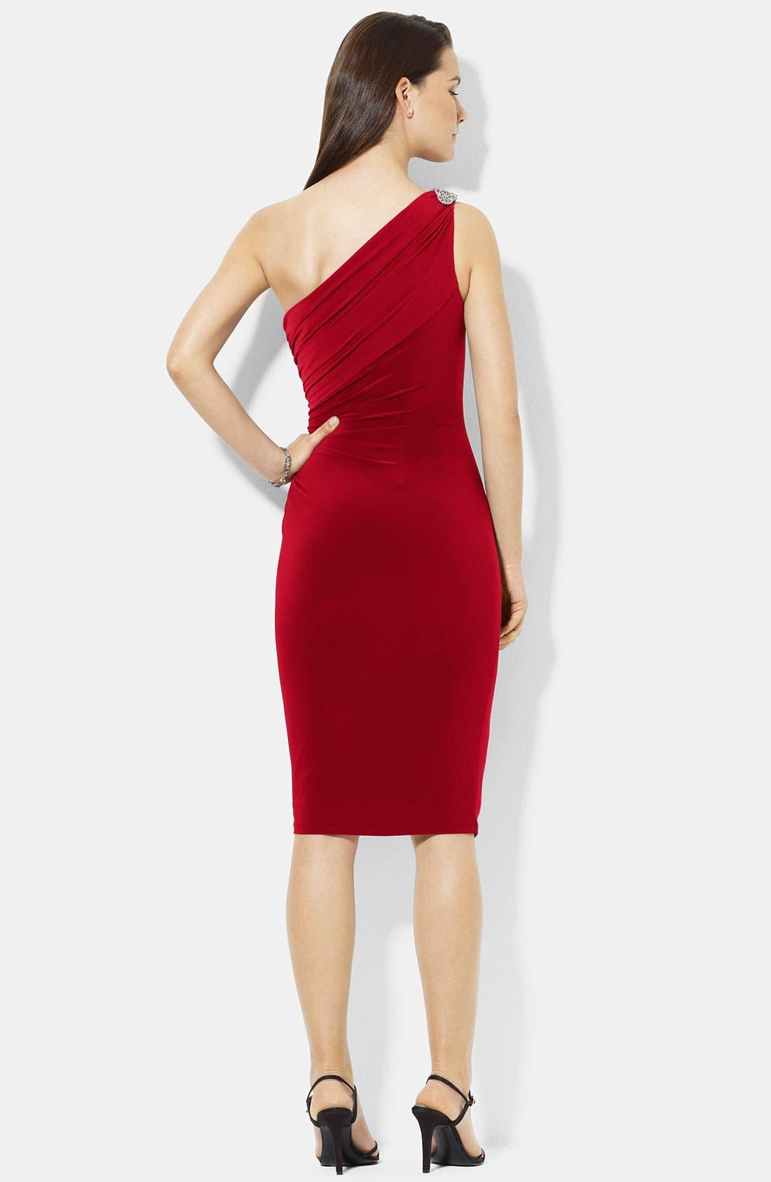 Alternate Image 2  - Lauren Ralph Lauren One Shoulder Jersey Sheath Dress