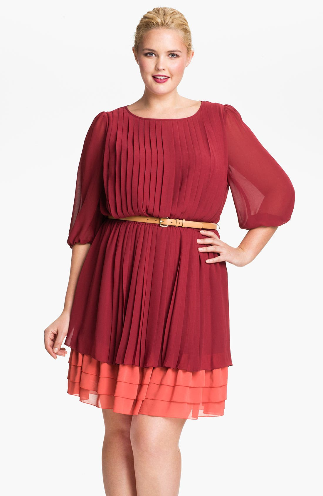 Alternate Image 1 Selected - Jessica Simpson Pleated Chiffon Blouson Dress (Plus)