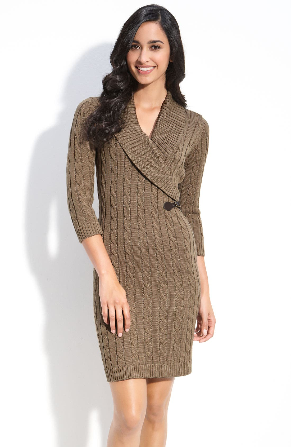 Alternate Image 1 Selected - Calvin Klein Faux Wrap Sweater Dress