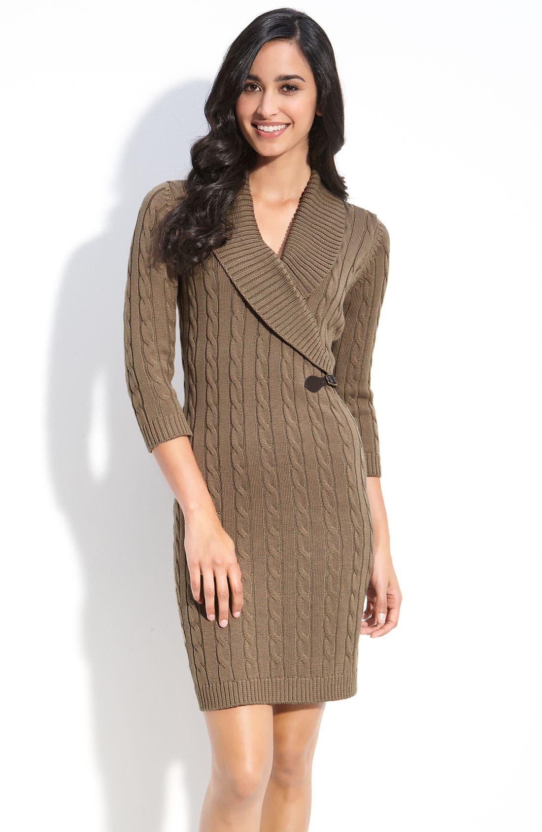 Main Image - Calvin Klein Faux Wrap Sweater Dress